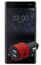 NOKIA 3 Dual SIM Czarna 16GB LTE  + Ład. Samochodowa Trust 2xUSB
